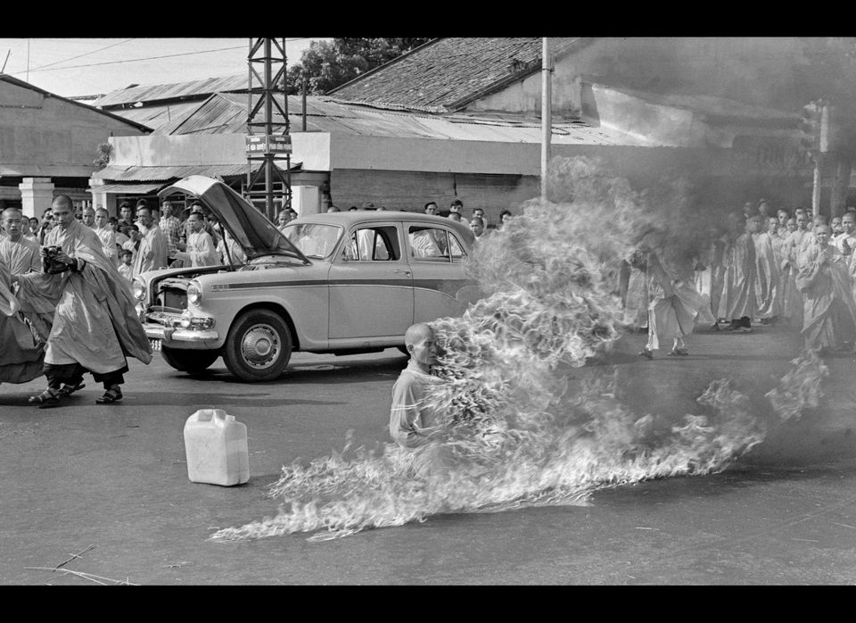 Taken on June 11, 1963 by then AP Saigon correspondent Malcolm Browne, a Buddhist monk, burns himself to death on a Saigon st