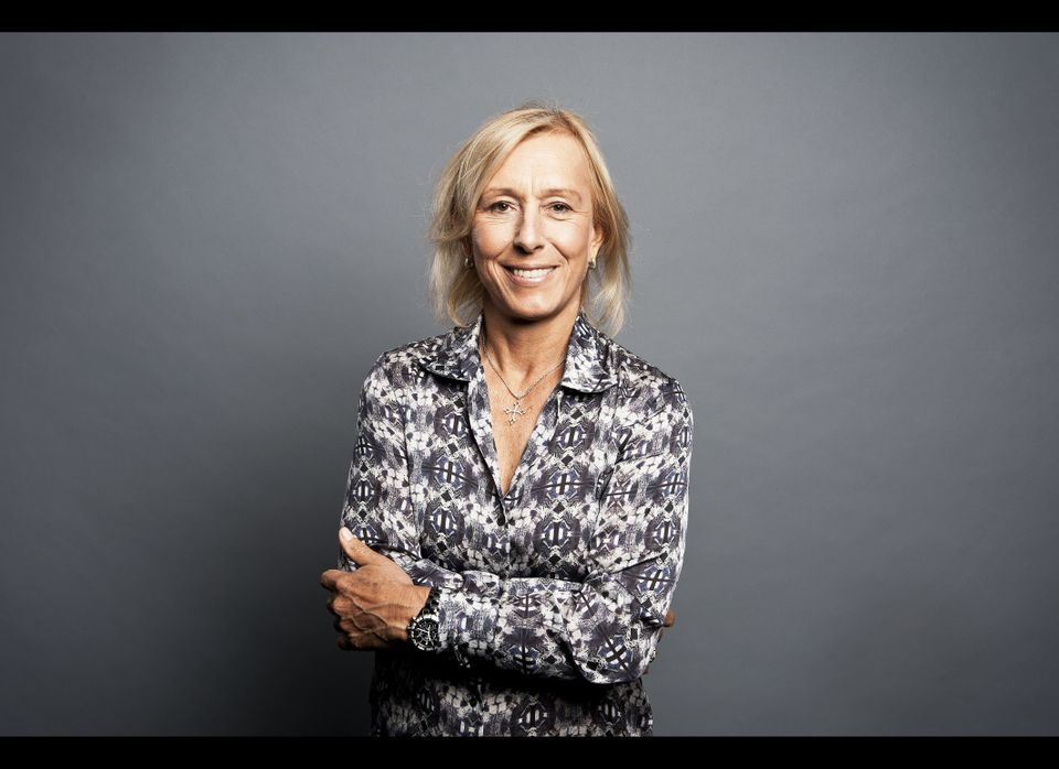Retired tennis player Martina Navratilova poses for a portrait after going on HuffPost Live as a guest speaker at the AOL Huf