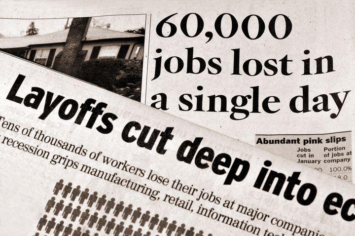 Layoffs and Recession - newspaper headlines documenting deep job cuts