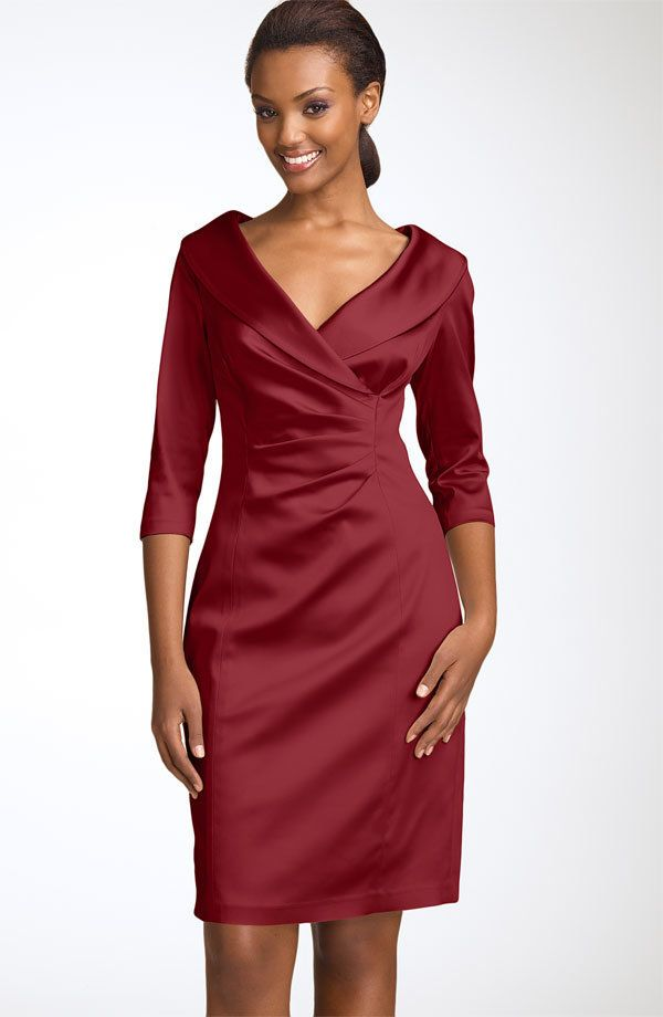 We like the flattering portrait collar, three-quarter sleeves and perfect length on this Kay Unger dress. (Nordstrom, $328)