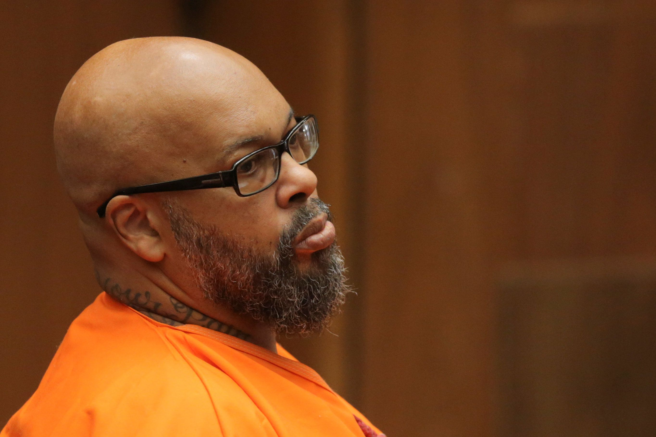 "Former rap mogul Marion ""Suge"" Knight  appears in court to formally receive his 28-year prison sentence for a manslaughter conviction in the fatal 2015 hit-and-run killing of a man he ran down with his pickup truck in Los Angeles, California, U.S., October 4, 2018.    David McNew/EPA/Pool via REUTERS"