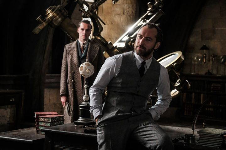 "Jude Law (right) as a young Albus Dumbledore in ""Fantastic Beasts: The Crimes of Grindelwald."""