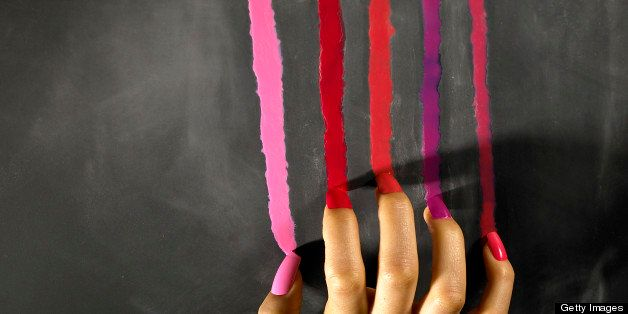 Painted Nails on scraping color down the chalkboard.