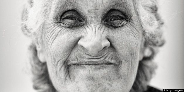 Senior woman making a face