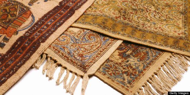 Isolated studio shot on white background of rugs