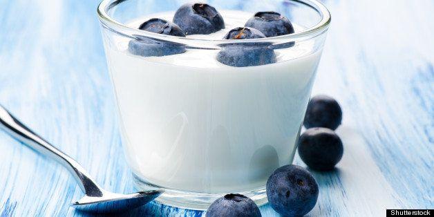 blueberry yogurt in a glass