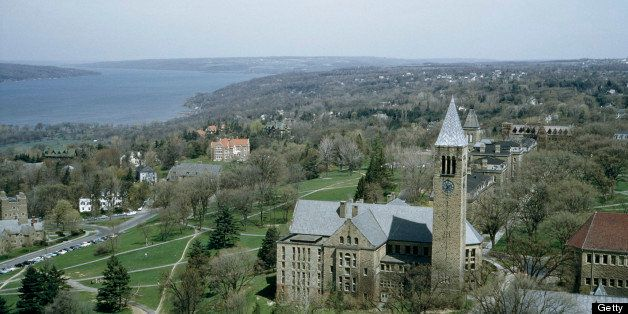 UNITED STATES - NOVEMBER 11:  The university library's clock tower towers over the town, Cornell University, Ithaca, New York