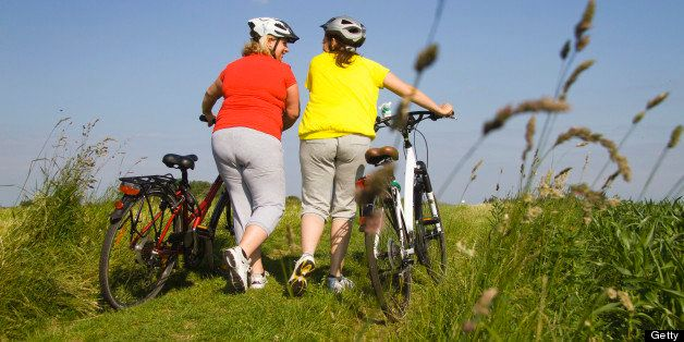 Two friends walking with bicycles through field