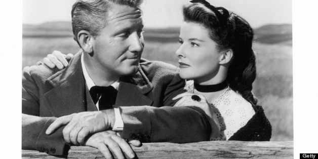Spencer Tracy and Katharine Hepburn gazing into one an other's eyes in a scene from the film 'Sea Of Grass', 1947. (Photo by