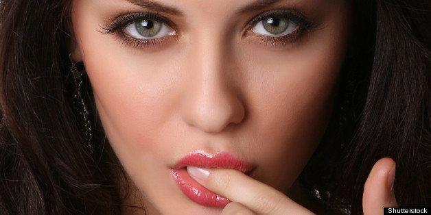closeup of sexy female face...