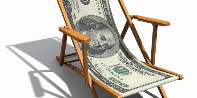 deckchair with 100 dollar bill as lying surface in front of white background, cutout with shadow