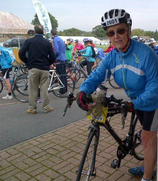 Daphne Belt at the start of a cycletta near Brighton Sussex recently.