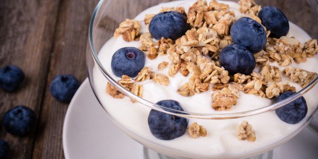 yogurt with granola and fresh...