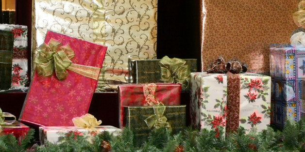 several pretty wrapped gifts...