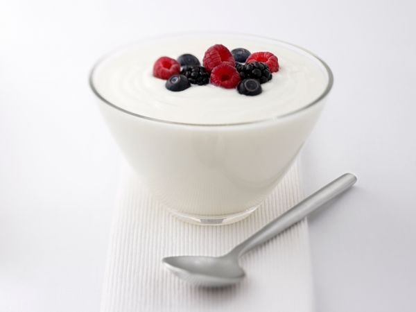 "To fight redness and irritation, Pace recommends introducing foods with more probiotics, like yogurt, into your diet. ""Skin-f"