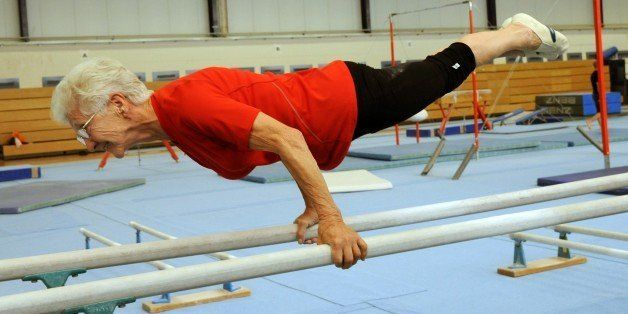 The 86-year-old Johanna Quaas, the oldest active gymnast in the world according to ??the Guinness Book of World Records, atte
