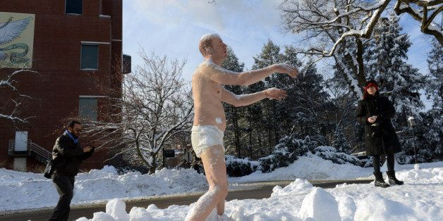 WELLESLEY - FEBRUARY 6: People look at a sculpture entitled 'Sleepwalker' on the campus of Wellesley College February 6, 2014