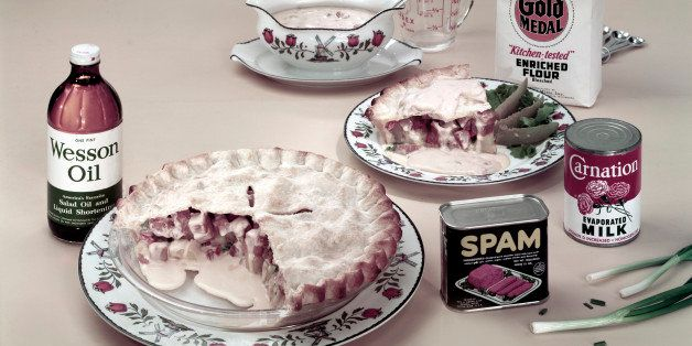 View of a pie made with Spam-brand canned meat, potatoes, scallions, and cream of mushroom soup among other ingredients, some