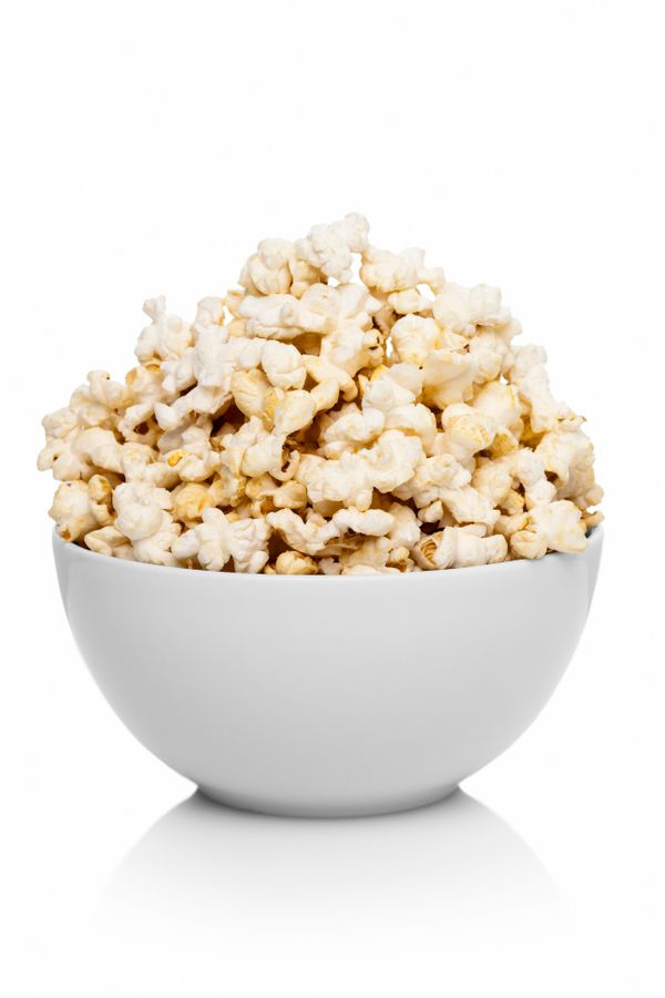 Say no to potato chips and other fattening snacks, and yes to popcorn. Air-popped popcorn only has 30 calories per cup, and w
