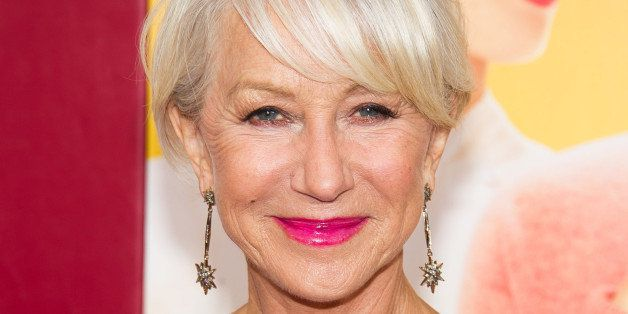 """Helen Mirren attends """"The Hundred-Foot Journey"""" premiere on Monday, August 4, 2014 in New York. (Photo by Charles Sykes/Invis"""