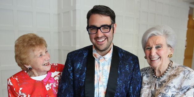 CANTON, MA - MAY 8:  At Orchard Cove, Letty Zander, 96, left; Ari Seth Cohen, author of 'Advanced Style,' middle; and Sylvia