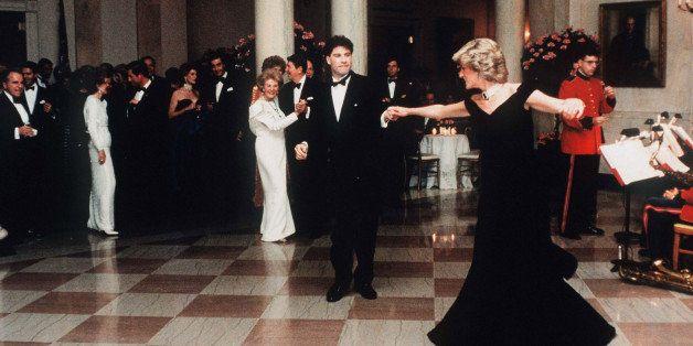 WASHINGTON, UNITED STATES - NOVEMBER 09:  Diana,  Princess Of Wales, watched by President Ronald Reagan and wife Nancy,  danc