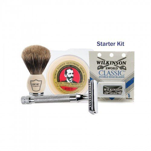 "Get the <a href=""http://www.groominglounge.com/the-old-school-safety-razor-shaving-starter-kit.html"" target=""_blank"">Old-Scho"