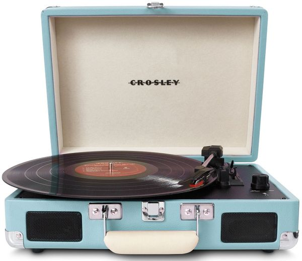 """Get the <a href=""""http://www.amazon.com/Crosley-CR8005A-TU-Portable-Turntable-Turquoise/dp/B00990Z4W6?tag=thehuffingtop-20"""" ta"""