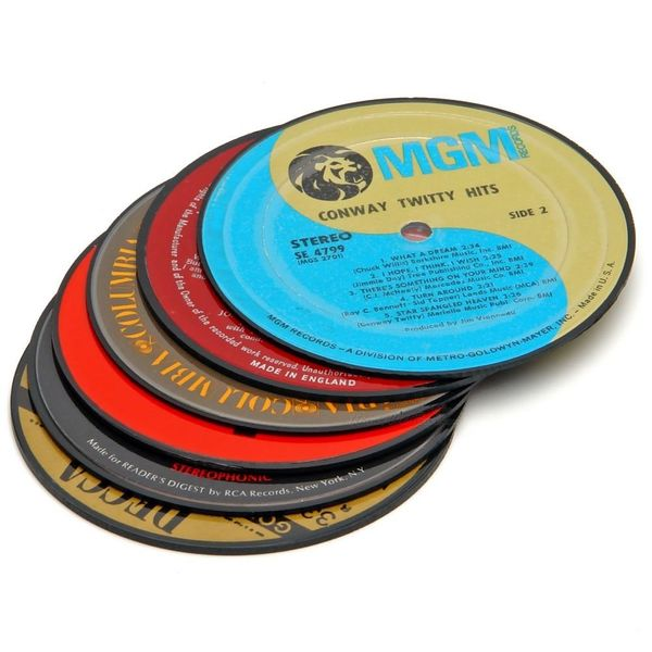 "Get the <a href=""http://www.homewetbar.com/Vintage-Record-Coasters-p-681.html"" target=""_blank"">Vintage Record Coasters</a>."