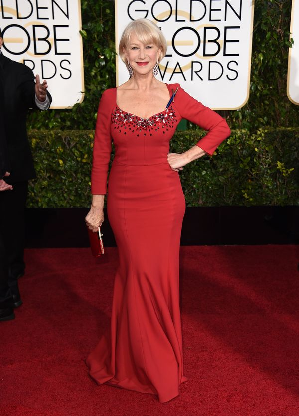 Dame Helen showed off her gorgeous curves in this bold red dress with a flattering sweetheart neckline. But what also caught