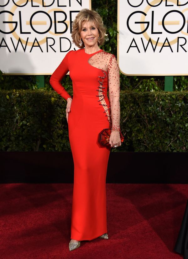 Jane Fonda was also a lady in red last night, opting for a more daring look. Fonda, 77, wore a cutout Versace dress with shee