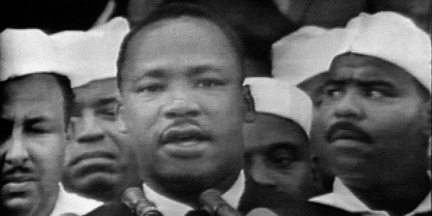 Screen capture from the CBS national broadcast of the 'I Have a Dream' speech of American civil rights leader Martin Luther K