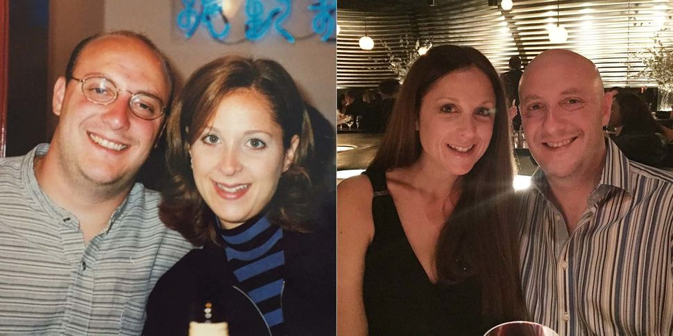 """We will be married 20 years in November. The first picture was taken in September 1996 for our first anniversary. The second"