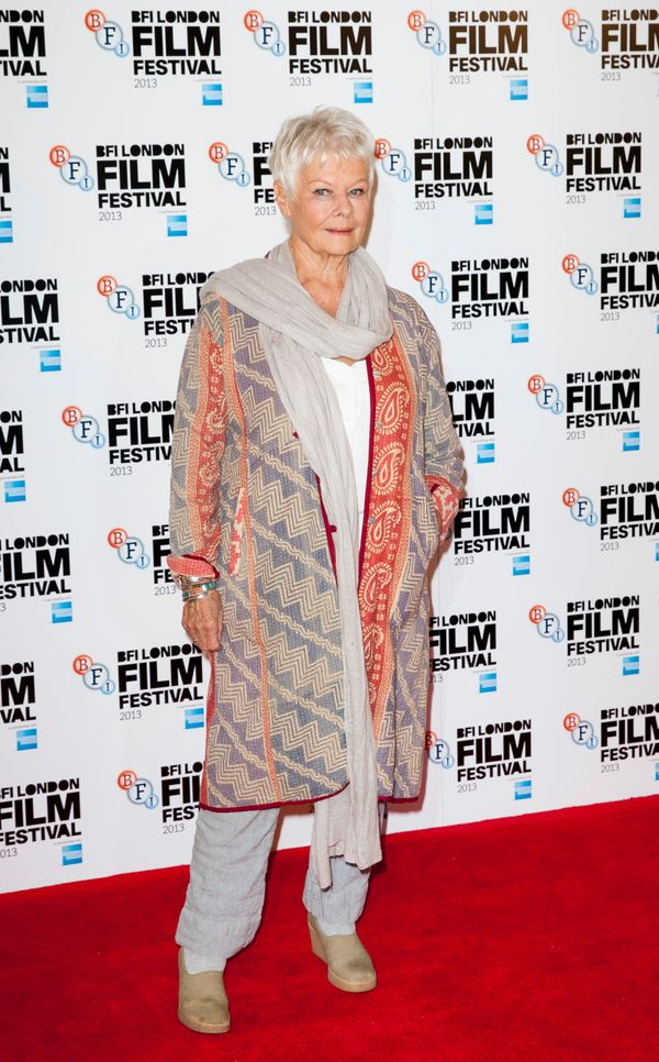 Really, she belongs in Marrakesh, sporting yet another cool print caftan over a linen suit at the BFI London Film Festival.
