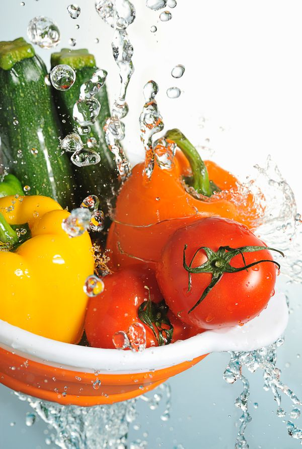 Kill bacteria that can live on produce with mild hydrogen peroxide and household vinegar. Spray first with 3-percent hydrogen