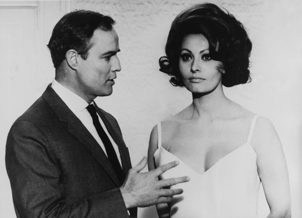 """The feisty Italian bombshell almost slapped Marlon Brandon on the set of their 1967 film, """"A Countess From Hong Kong."""" """"I nev"""