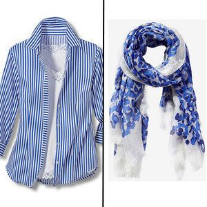 Choose: V-necks/ Button-downs with popped collars/ Long pendant necklaces/ Long scarves<br> The key with neck issues is to tr