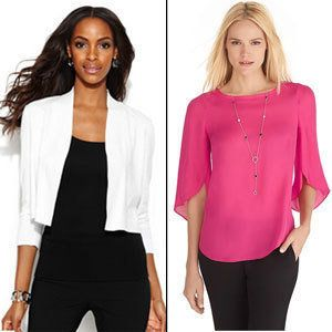 Choose: 3/4 sleeves/ V-neck sleeved blouses/ Drapey fabrics<br> A quick solution to slimming your arms is to own a selection