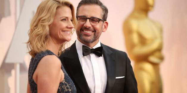 HOLLYWOOD, CA - FEBRUARY 22:  Actors Steve Carell (R) and Nancy Carell attend the 87th Annual Academy Awards at Hollywood & H