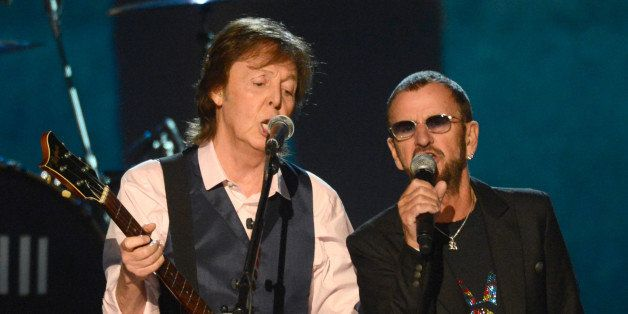 LOS ANGELES, CA - JANUARY 27:  Paul McCartney and Ringo Starr perform  onstage at 'The Night That Changed America: A GRAMMY S
