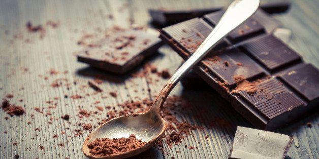 Closeup of Cocoa Powder on spoon.