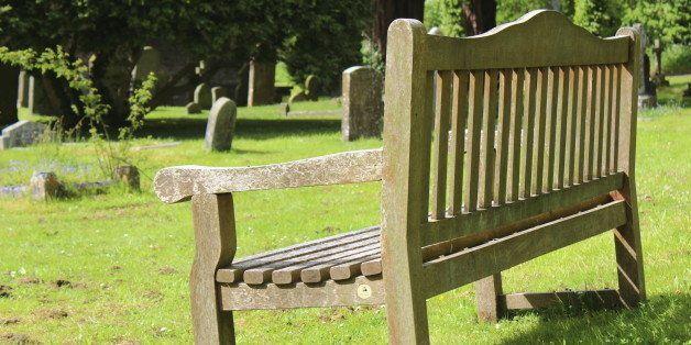 Bench in a church grave yeard