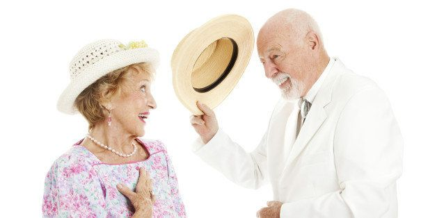 Southern gentleman tipping his hat to a pretty southern belle. Isolated on white