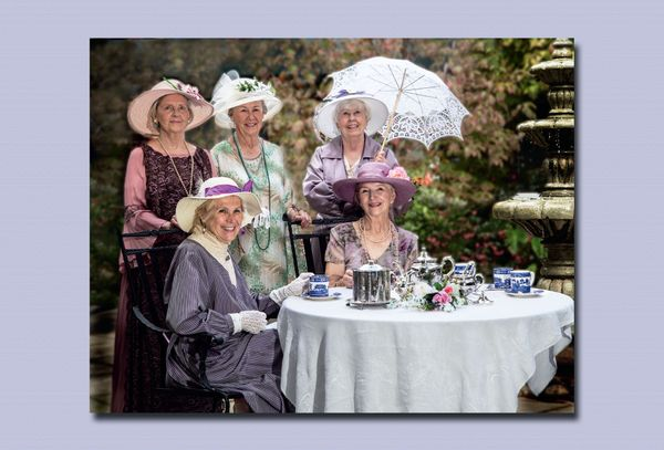 "The lovely ladies of ""Downton Meadows"" take afternoon tea in elaborate gowns provided by PlayMakers Repertory Company. Barbar"