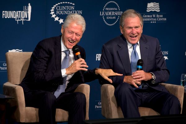 Two former U.S. presidents from rival political parties walk into an event... good-natured ribbing about grandparenthood ensu