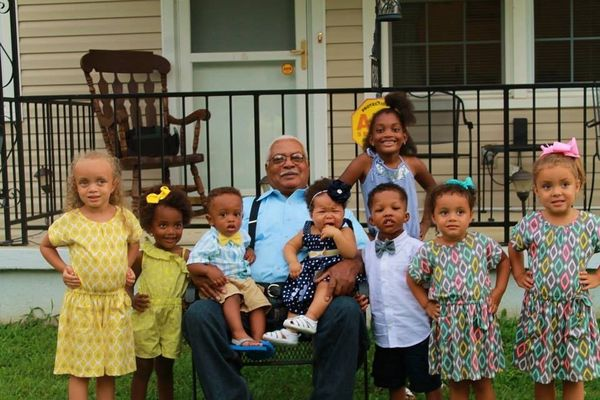 Sammy Seay and his eight great-grand childen. Left to right, Asiah, Azariah, Alijah, Aniyah, Ariyanah, Anthony, Ava and Alexi