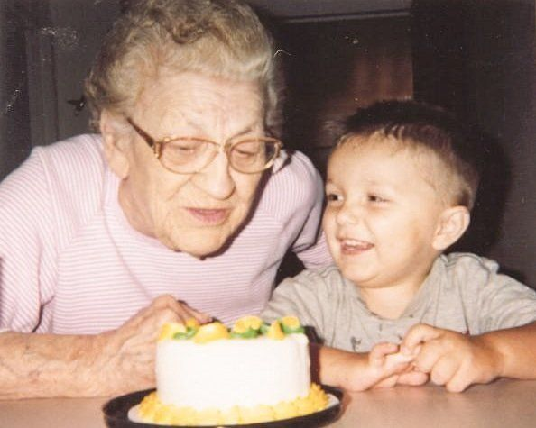In a photo taken in June 2001. Irene Kowalsk, 83 then, and her great-grandson, Tyler Scott, 2 1/2. He was the apple of her ey