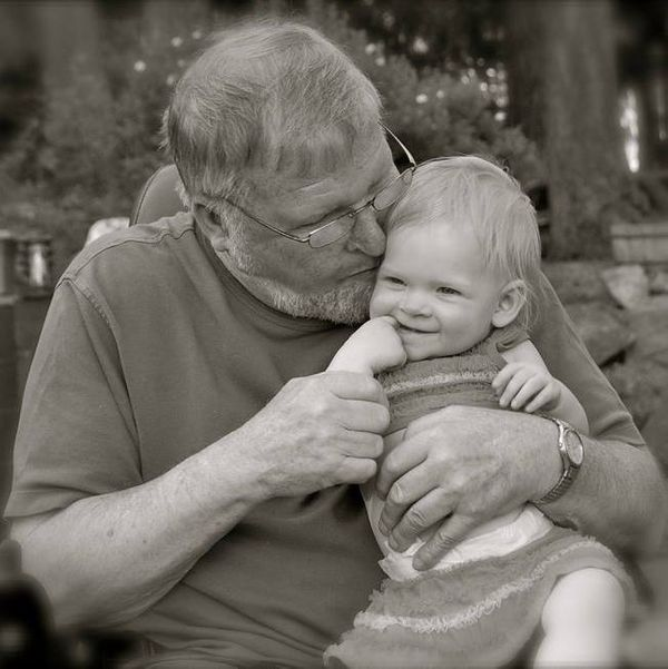 John Cook (passed away in February 2014) with great-granddaugter, Zoey Watilo, 14 months in the photo.