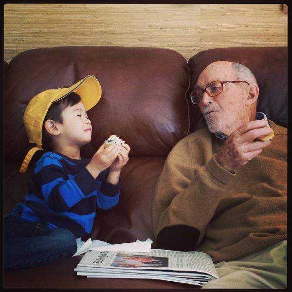 Jack O'Neill, (93 in the photo but now deceased) with his great-grandson, Aiden O'Neill, 3.