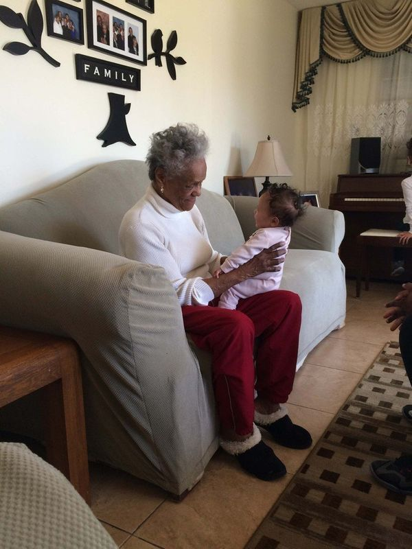 "Dorothy Clark, 85, with her great-granddaughter Magnolia ""Noli"" Clark, 4 months."